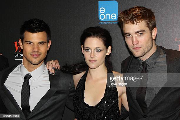 Taylor Lautner Kristen Stewart and Robert Pattinson attend the UK premiere of The Twilight Saga Breaking Dawn Part 1 at Westfield Stratford City on...