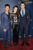 Taylor Lautner Kristen Stewart and Robert Pattinson attend the UK Premiere of 'The Twilight Saga Breaking Dawn Part 2' at Odeon Leicester Square on...