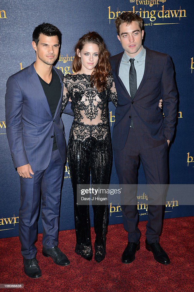 Taylor Lautner, Kristen Stewart and Robert Pattinson attend the UK Premiere of 'The Twilight Saga: Breaking Dawn - Part 2' at Odeon Leicester Square on November 14, 2012 in London, England.