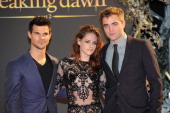 Taylor Lautner Kristen Stewart and Robert Pattinson attends the UK Premiere of 'The Twilight Saga Breaking Dawn Part 2' at Odeon Leicester Square on...
