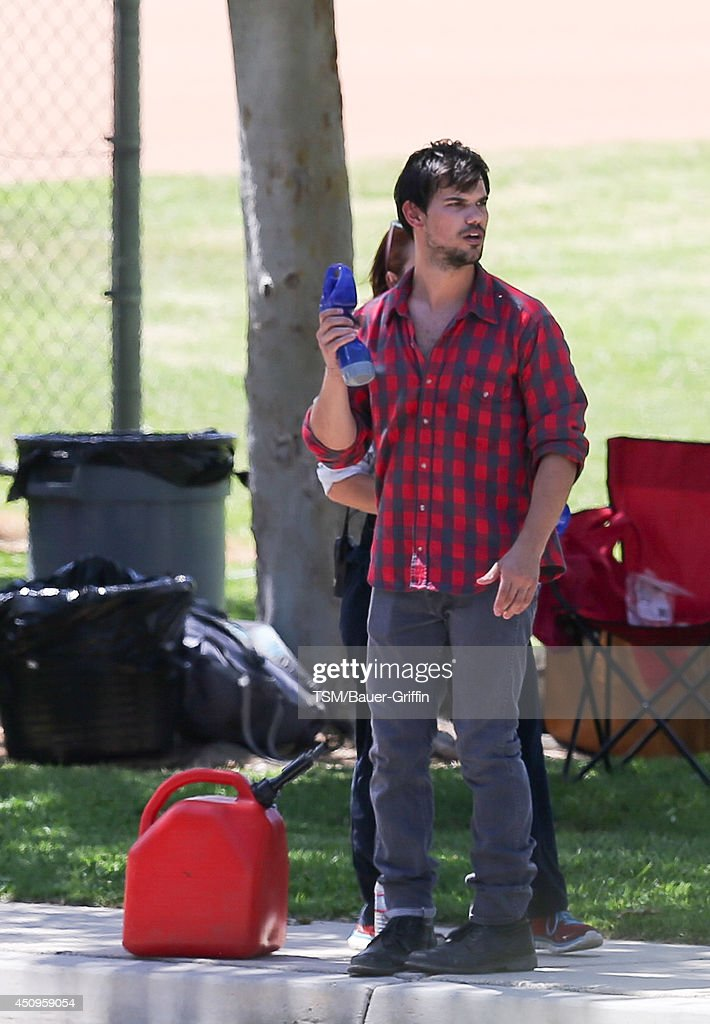 Taylor Lautner on set of 'Run The Tide' on June 20, 2014 in Los Angeles, California.