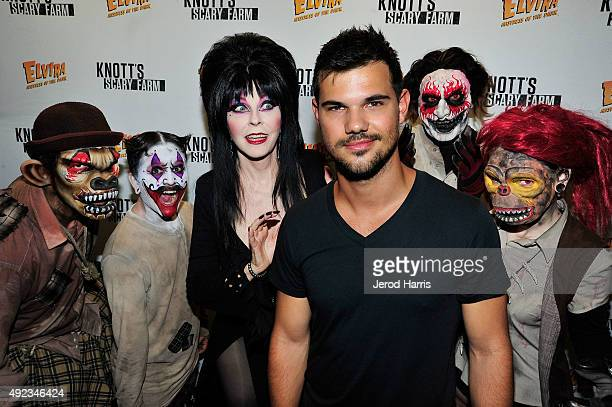 Taylor Lautner visits Knott's Scary Farm at Knott's Berry Farm on October 11 2015 in Buena Park California