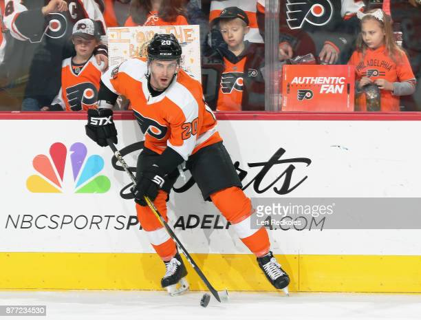 Taylor Leier of the Philadelphia Flyers handles the puck in front of young fans on November 21 2017 at the Wells Fargo Center in Philadelphia...