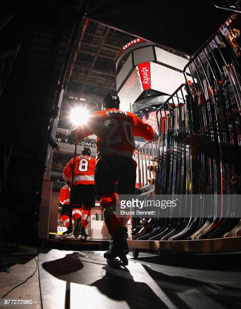 Taylor Leier of the Philadelphia Flyers heads out for the third period against the Vancouver Canucks at the Wells Fargo Center on November 21 2017 in...