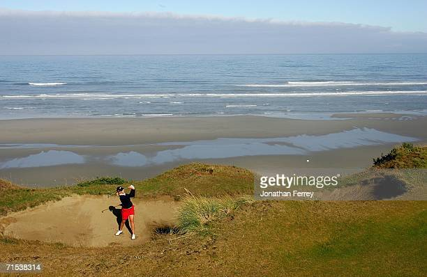 Taylor Leon hits out of the bunker on the 4th hole during the morning alternate shot competition of 34th Curtis Cup Match on July 29 2006 at Pacific...