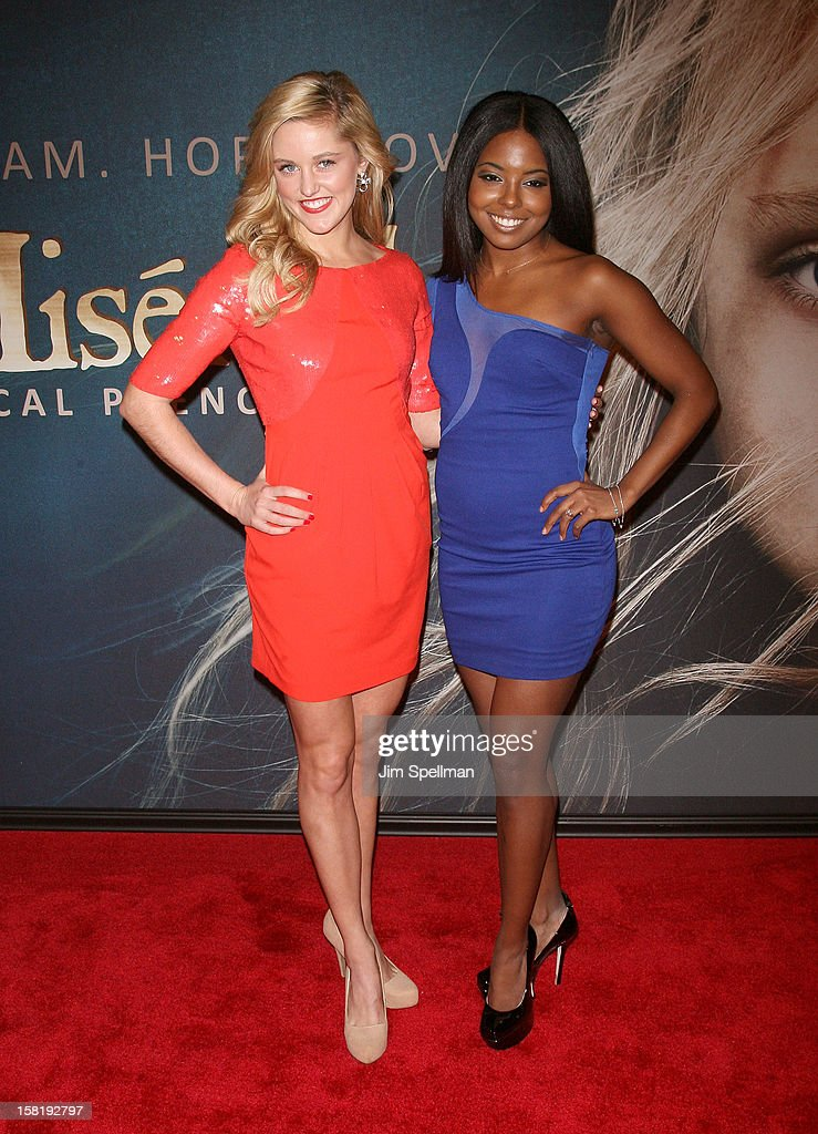 Taylor Louderman and Adrienne Warren attends the 'Les Miserables' New York Premiere at Ziegfeld Theatre on December 10, 2012 in New York City.
