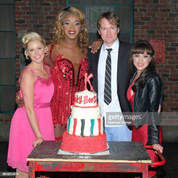 Taylor Louderman J Harrison Ghee Killian Donnelly and Shannon O'Boyle pose together for a photo in celebration of 'Kinky Boots' four years on...