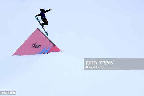 Taylor Lundquist competes in the qualifying round of the FIS Freestyle Ski World Cup 2017 Ladies' Ski Slopestyle during the Toyota US Grand Prix at...