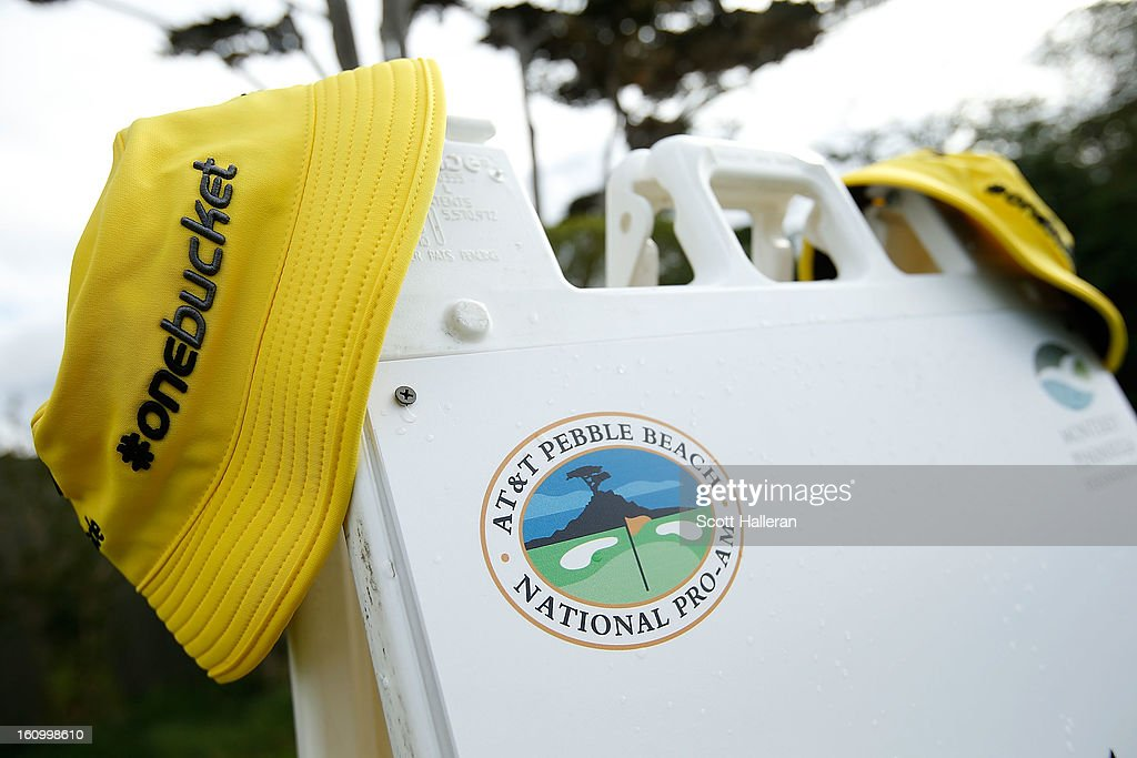 Taylor Made bucket caps are seen on the 17th hole during the second round of the AT&T Pebble Beach National Pro-Am at Pebble Beach Golf Links on February 8, 2013 in Pebble Beach, California.