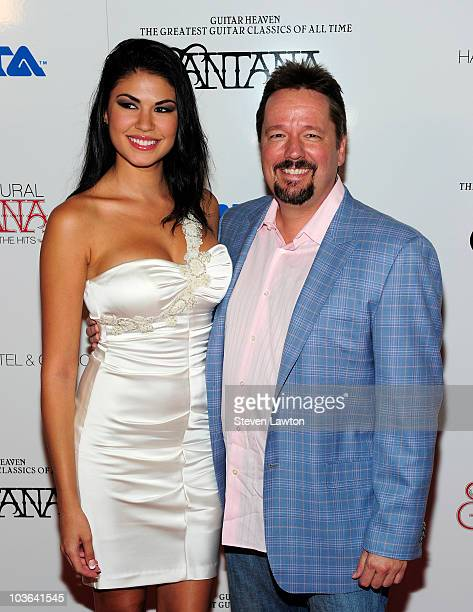 Taylor Makakoa and ventriloquist and impressionist Terry Fator arrive to unveil his new album ' Guitar Heaven' at the Vanity nightclub at the Hard...