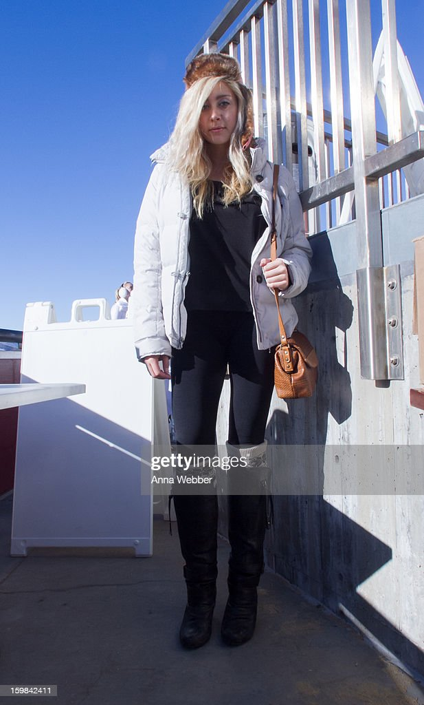 Taylor Marie, actress from Los Angeles, wearing Abercrombie jacket, Foreign Exchance blouse, Abercrombie socks, and Not Rated boots on January 20, 2013 on the streets of Park City, Utah.