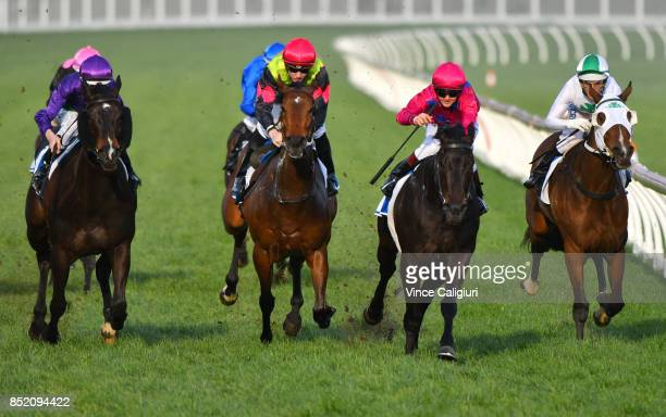Taylor Marshall riding Merriest wins Race 9 during Melbourne Racing at Caulfield Racecourse on September 23 2017 in Melbourne Australia