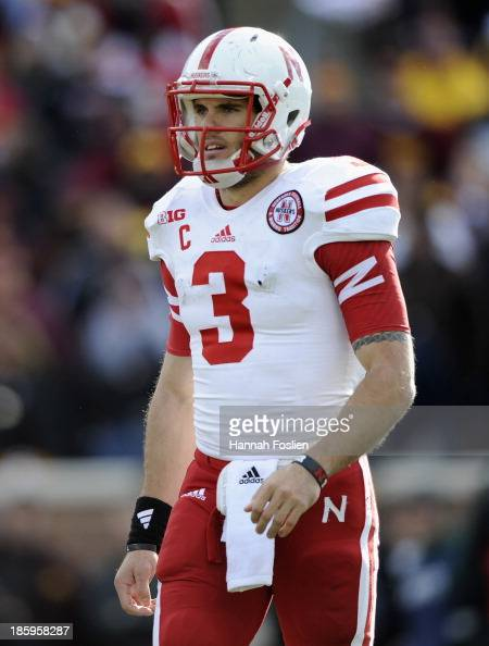 Taylor Martinez of the Nebraska Cornhuskers looks on during the fourth quarter of the game against the Minnesota Golden Gophers on October 26 2013 at...