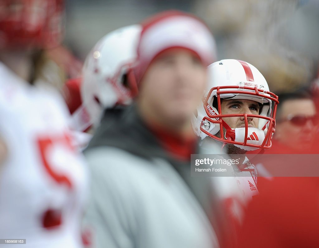 <a gi-track='captionPersonalityLinkClicked' href=/galleries/search?phrase=Taylor+Martinez&family=editorial&specificpeople=7175179 ng-click='$event.stopPropagation()'>Taylor Martinez</a> #3 of the Nebraska Cornhuskers looks on from the bench during the third quarter of the game against the Minnesota Golden Gophers on October 26, 2013 at TCF Bank Stadium in Minneapolis, Minnesota. The Golden Gophers defeated the Cornhuskers 34-23.