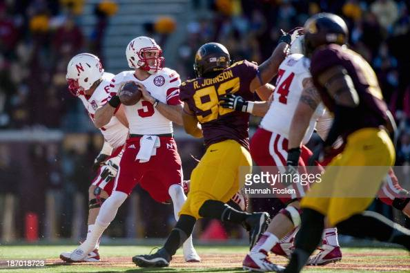 Taylor Martinez of the Nebraska Cornhuskers looks to pass the ball during the game against the Minnesota Golden Gophers on October 26 2013 at TCF...