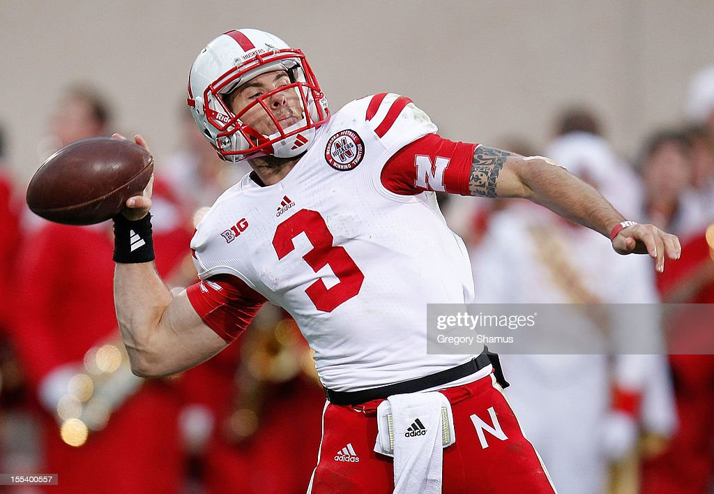 <a gi-track='captionPersonalityLinkClicked' href=/galleries/search?phrase=Taylor+Martinez&family=editorial&specificpeople=7175179 ng-click='$event.stopPropagation()'>Taylor Martinez</a> #3 of the Nebraska Cornhuskers throws a third quarter pass while playing the Michigan State Spartans at Spartan Stadium Stadium on November 3, 2012 in East Lansing, Michigan. Nebraska won the game 28-24.