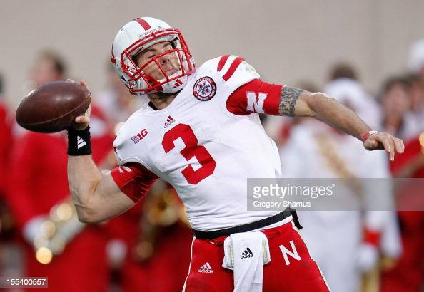 Taylor Martinez of the Nebraska Cornhuskers throws a third quarter pass while playing the Michigan State Spartans at Spartan Stadium Stadium on...