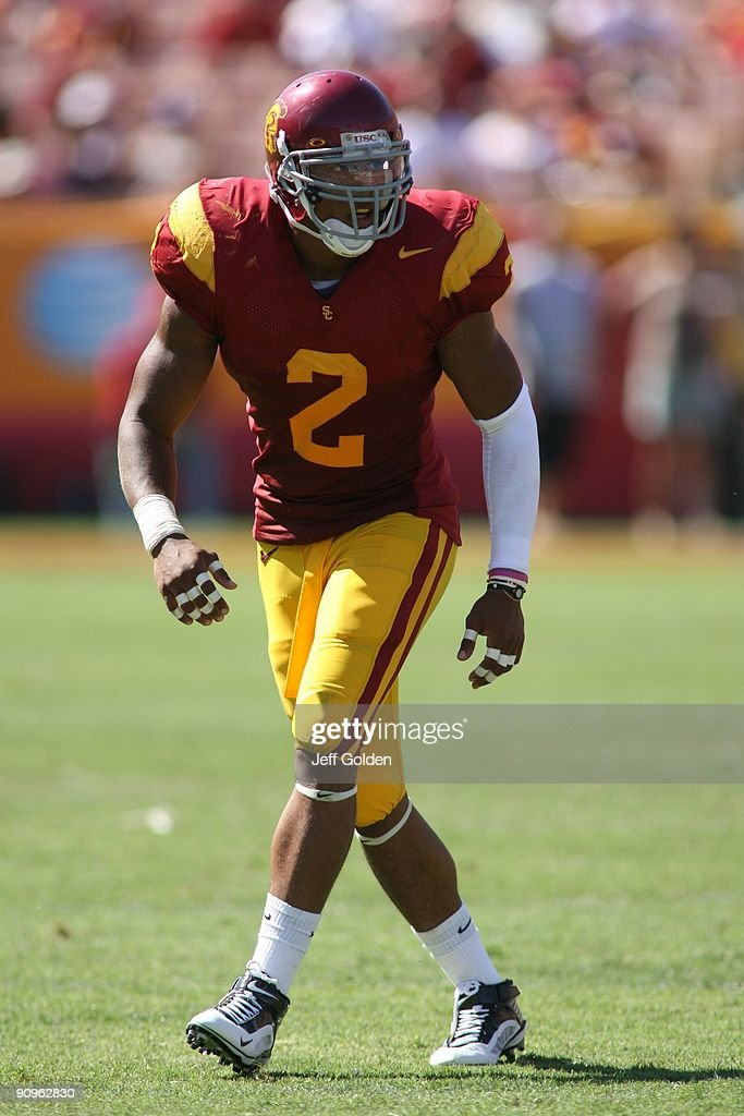 Taylor Mays of the USC Trojans eyes the play against the San Jose State Spartans on September 5 2009 at the Los Angeles Memorial Coliseum in Los...
