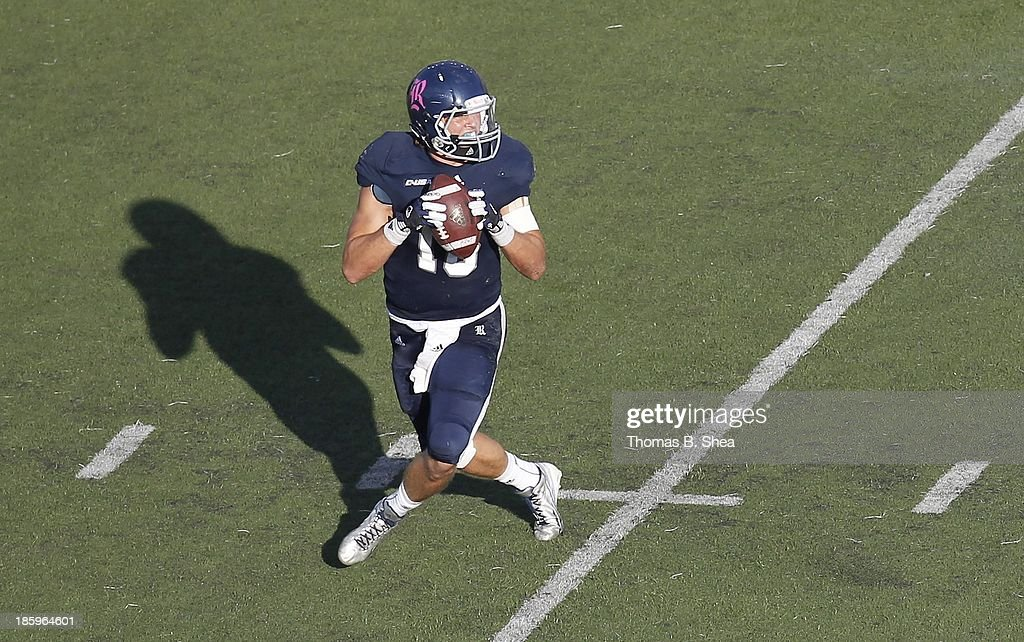 Taylor McHargue #16 of the Rice Owls in the pocket against the UTEP Miners on October 26, 2013 at Rice Stadium in Houston, Texas. Rice won 45 to 7.