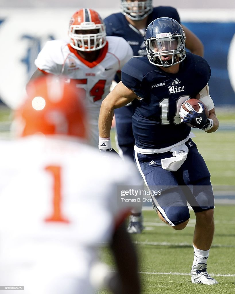 Taylor McHargue #16 of the Rice Owls rushes against the UTEP Miners on October 26, 2013 at Rice Stadium in Houston, Texas. Rice won 45 to 7.