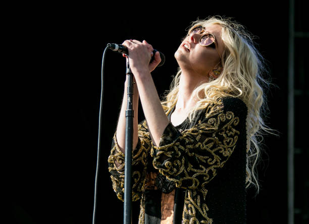 Musician Taylor Momsen of The Pretty Reckless performs