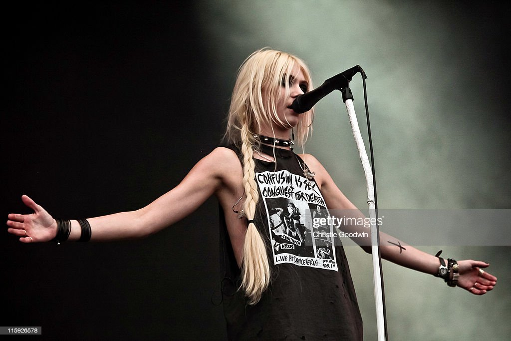 Taylor Momsen of The Pretty Reckless performs on the main stage on Day 3 of Download Festival at Donington Park on June 12, 2011 in Castle Donington, England.