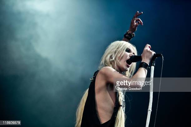 Taylor Momsen of The Pretty Reckless performs on the main stage on Day 3 of Download Festival at Donington Park on June 12 2011 in Castle Donington...