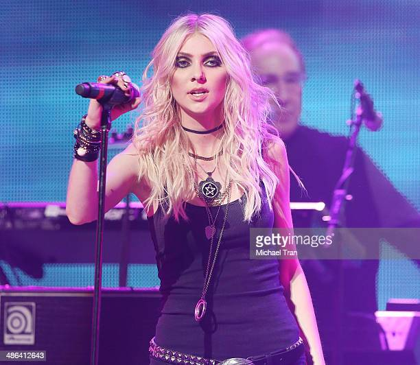 Taylor Momsen of The Pretty Reckless performs onstage during the 6th Annual Revolver Golden Gods Award Show held at Club Nokia on April 23 2014 in...