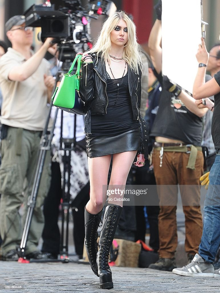 Taylor Momsen seen filming in Soho on April 9, 2013 in New York City.
