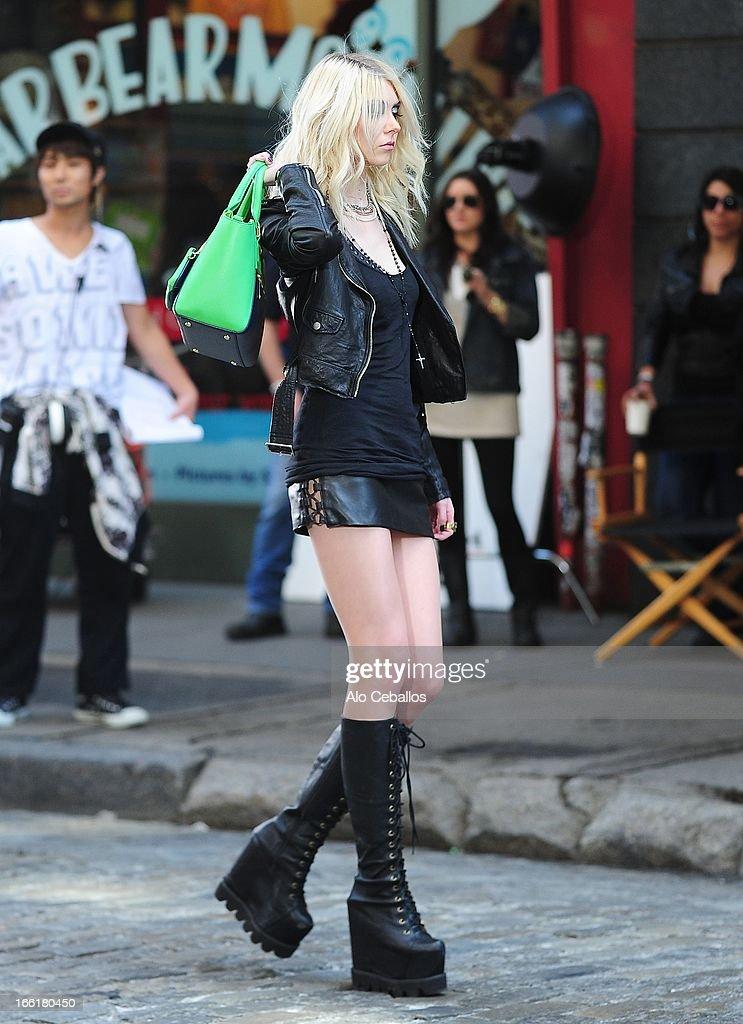 Taylor Momsen seen filming in Soho on April 9, 2013 in New York City.