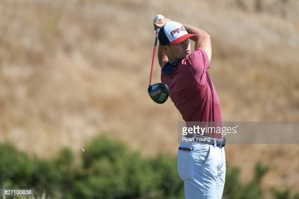 Taylor Moore plays his shot from the 17th tee during the final round of the Webcom Tour Ellie Mae Classic at TPC Stonebrae on August 6 2017 in...
