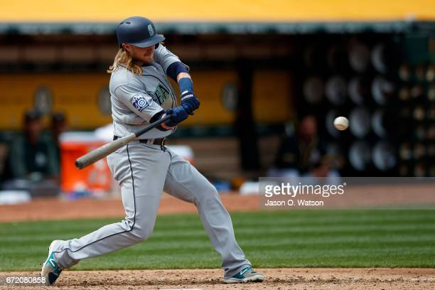 Taylor Motter of the Seattle Mariners at bat against the Oakland Athletics during the fifth inning at the Oakland Coliseum on April 22 2017 in...