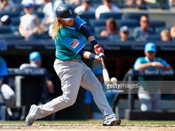 Taylor Motter of the Seattle Mariners connects on a seventh inning infield single against the New York Yankees at Yankee Stadium on August 26 2017 in...