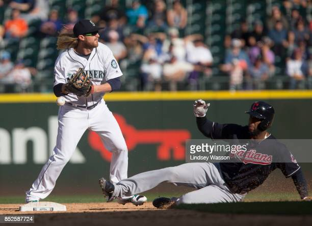 Taylor Motter of the Seattle Mariners gets Yandy Diaz of the Cleveland Indians out at second but drops the ball and doesn't get the double play on...