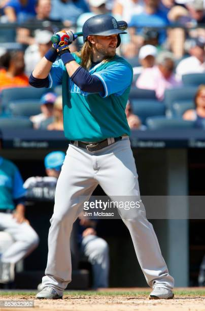 Taylor Motter of the Seattle Mariners in action against the New York Yankees at Yankee Stadium on August 26 2017 in the Bronx borough of New York...