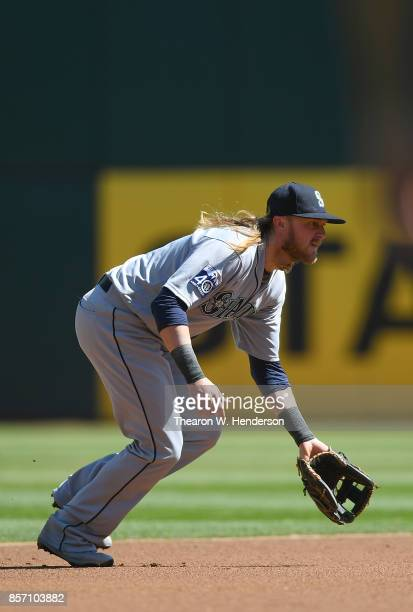 Taylor Motter of the Seattle Mariners in action against the Oakland Athletics in the bottom of the first inning at Oakland Alameda Coliseum on...