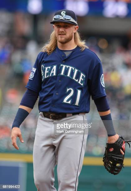 Taylor Motter of the Seattle Mariners looks on during the game against the Detroit Tigers at Comerica Park on April 27 2017 in Detroit Michigan The...