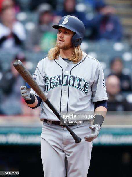 Taylor Motter of the Seattle Mariners reacts after being struck out by Andrew Miller of the Cleveland Indians during the seventh inning at...