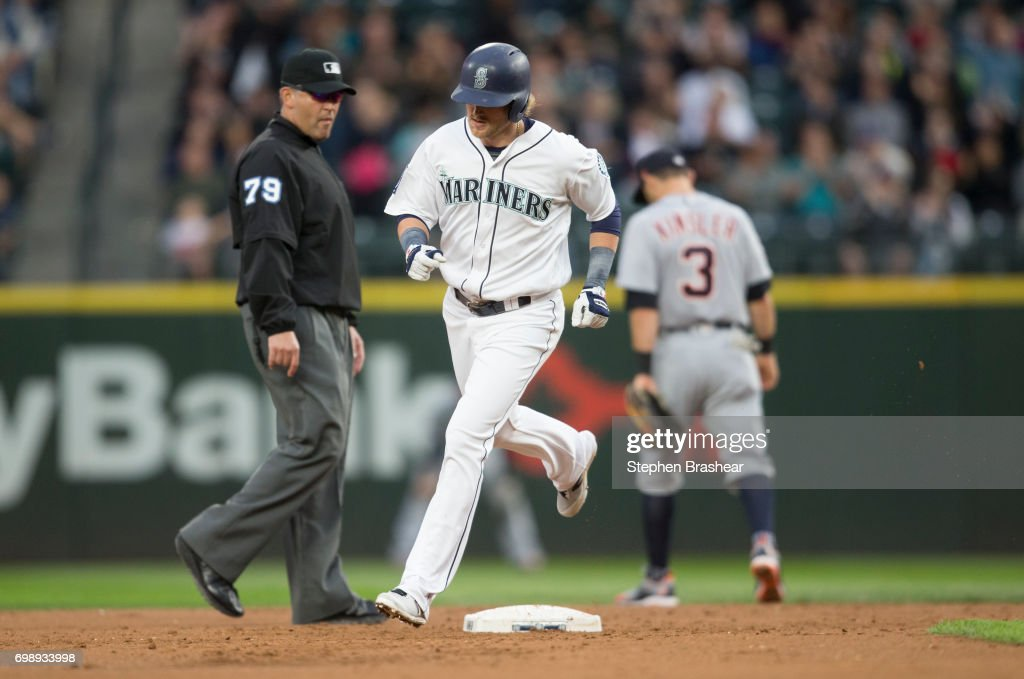 Taylor Motter #21 of the Seattle Mariners rounds the bases after hitting a solo home run off of starting pitcher Jordan Zimmermann #27 of the Detroit Tigers during the second inning of a game at Safeco Field on June 20, 2017 in Seattle, Washington.
