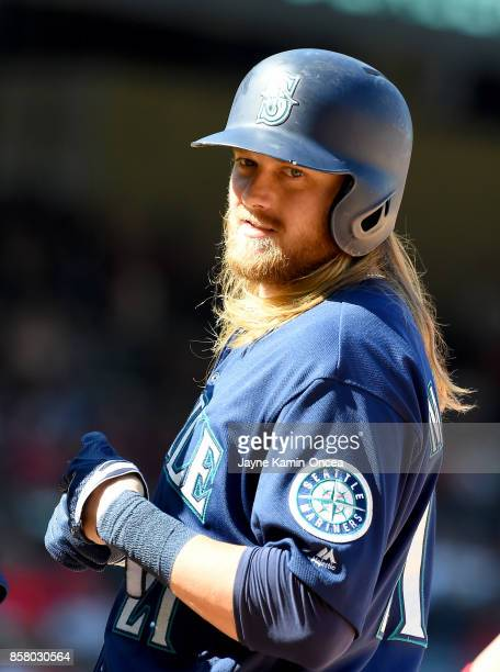 Taylor Motter of the Seattle Mariners stands on first after a hit in the game against the Los Angeles Angels of Anaheim at Angel Stadium of Anaheim...
