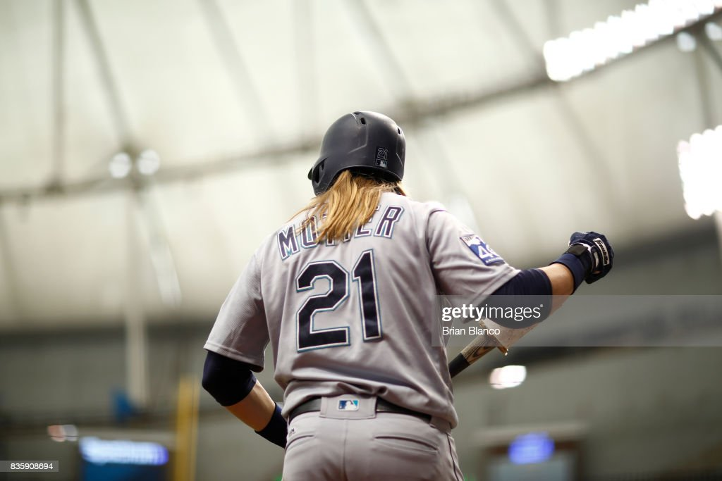 Taylor Motter #21 of the Seattle Mariners waits on deck to bat against pitcher Blake Snell of the Tampa Bay Rays during the fifth inning of a game on August 20, 2017 at Tropicana Field in St. Petersburg, Florida.