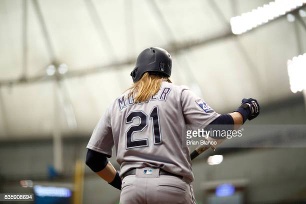 Taylor Motter of the Seattle Mariners waits on deck to bat against pitcher Blake Snell of the Tampa Bay Rays during the fifth inning of a game on...