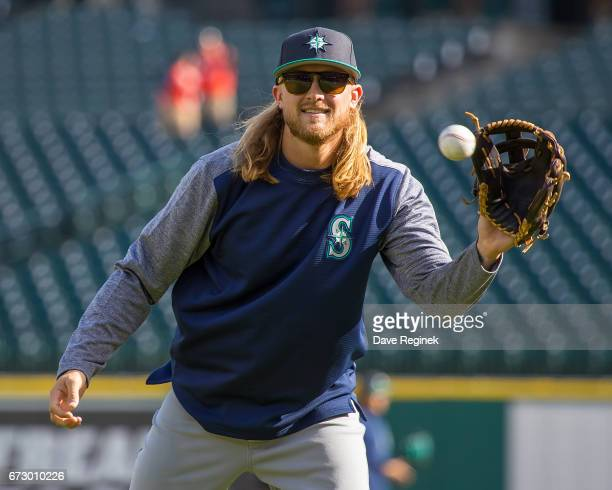 Taylor Motter of the Seattle Mariners warms up prior to a MLB game against the Detroit Tigers at Comerica Park on April 25 2017 in Detroit Michigan