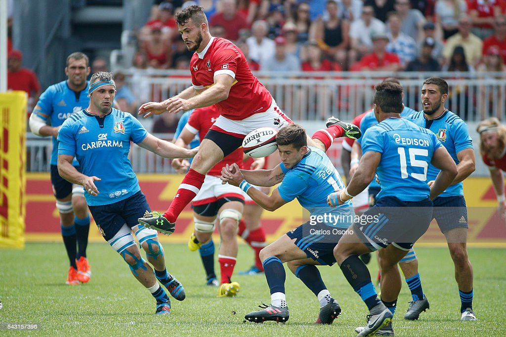 TORONTO, ON - JUNE 26 - Taylor Paris of Canada jumps for a ball during the first half of Rugby action as Canadas Mens Rugby Team takes on Italy in a Rugby World Cup (RWC) 2015 re-match on Sunday at BMO field in downtown Toronto June 26, 2016.