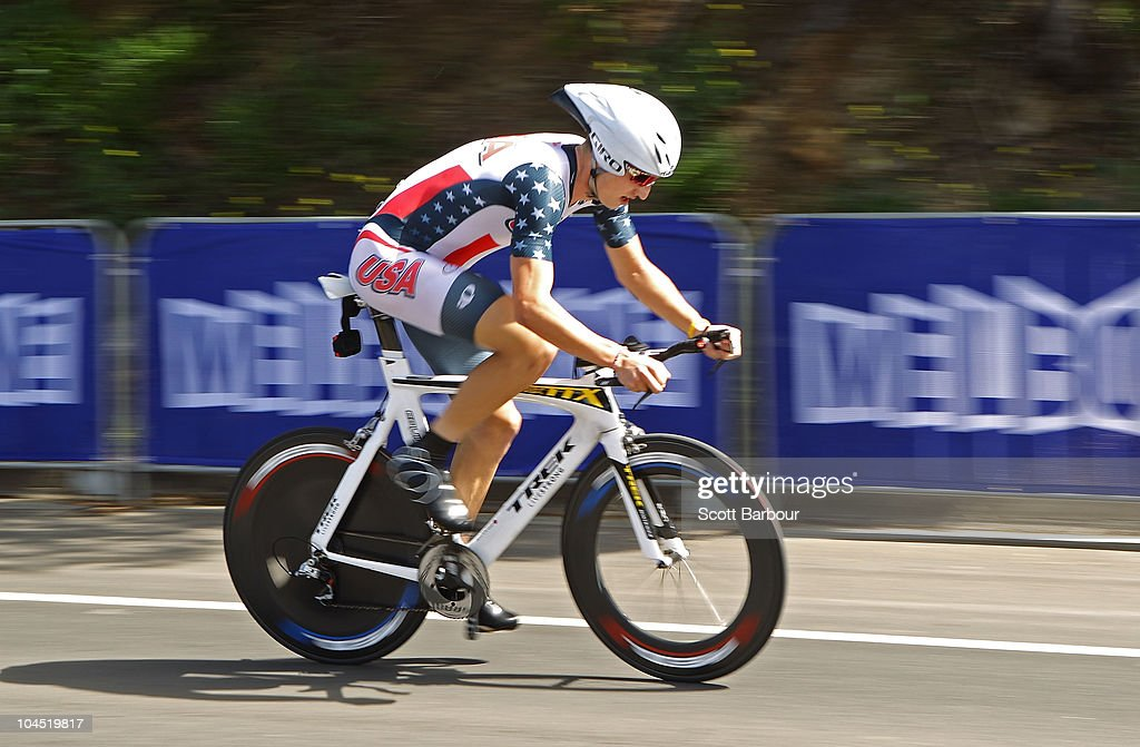 <a gi-track='captionPersonalityLinkClicked' href=/galleries/search?phrase=Taylor+Phinney&family=editorial&specificpeople=4645036 ng-click='$event.stopPropagation()'>Taylor Phinney</a> of the United States of America competes in the Men's Under 23 Time Trial on day one of the UCI Road World Championships on September 29, 2010 in Geelong, Australia.