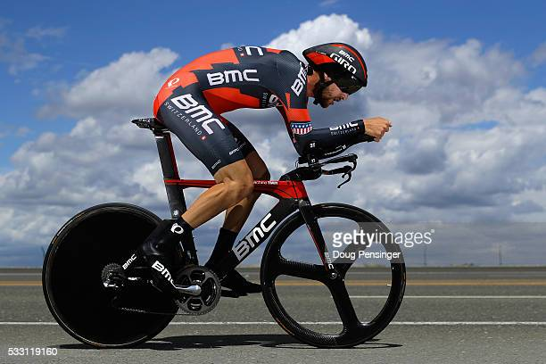 Taylor Phinney of the United States riding for BMC Racing races to third place in the individual time trial during stage six of the 2016 Amgen Tour...