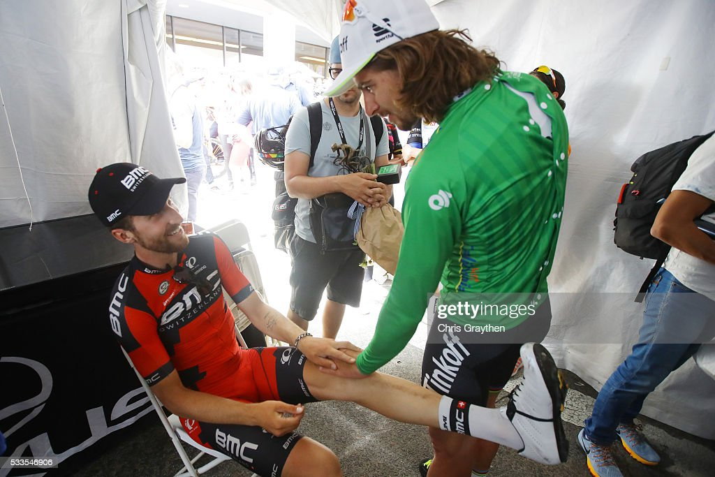 <a gi-track='captionPersonalityLinkClicked' href=/galleries/search?phrase=Taylor+Phinney&family=editorial&specificpeople=4645036 ng-click='$event.stopPropagation()'>Taylor Phinney</a> of the United States riding for BMC Racing Team talks with <a gi-track='captionPersonalityLinkClicked' href=/galleries/search?phrase=Peter+Sagan&family=editorial&specificpeople=4846179 ng-click='$event.stopPropagation()'>Peter Sagan</a> of Slovakia riding for Tinkoff following stage 8 of the Amgen Tour of California on May 22, 2016 in Sacramento, California.