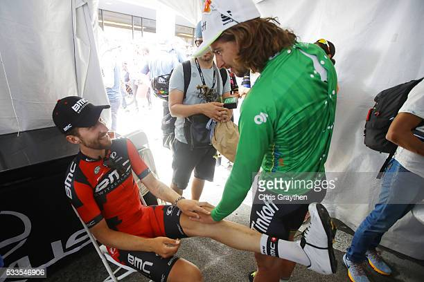 Taylor Phinney of the United States riding for BMC Racing Team talks with Peter Sagan of Slovakia riding for Tinkoff following stage 8 of the Amgen...