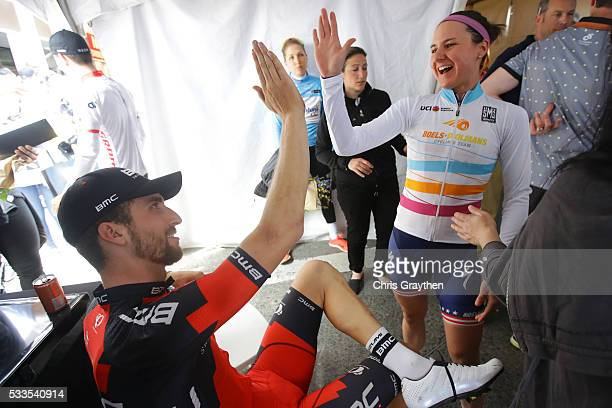 Taylor Phinney of the United States riding for BMC Racing Team celebrates with Megan Guarnier of the United States riding for BoelsDolmans Cycling...