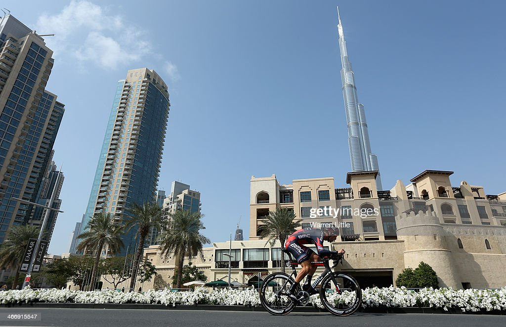 Taylor Phinney of the USA and BMC Racinf team races past the Burj Khalifa during the time trial on stage one of the 2014 Tour of Dubai on February 5, 2014 in Dubai, United Arab Emirates.